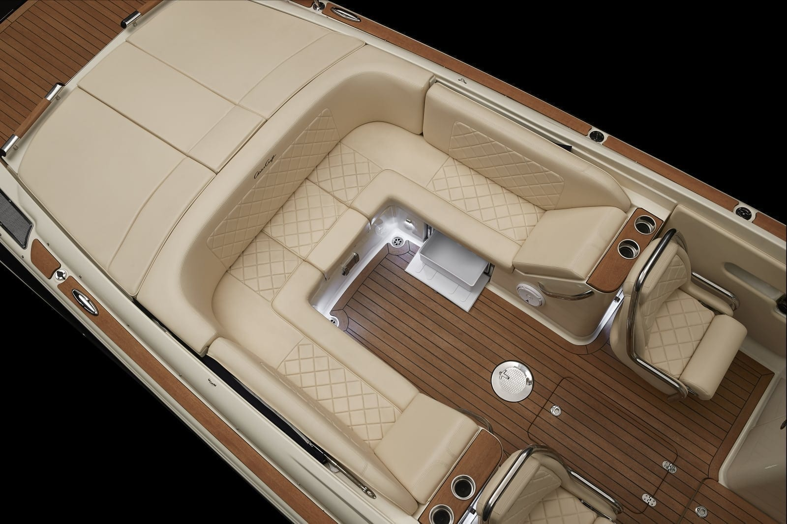 Chris Craft Launch 27 Rear Seating and Fridge